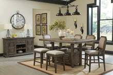 Load image into Gallery viewer, Wyndahl Rustic Brown 6 Pc. Rectangular Counter Table with Storage, 4 Upholstered Stools & Server