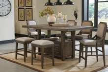 Load image into Gallery viewer, Wyndahl Rustic Brown 7 Pc. Rectangular Counter Table with Storage, 4 Upholstered Barstools & 2 Upholstered Stools