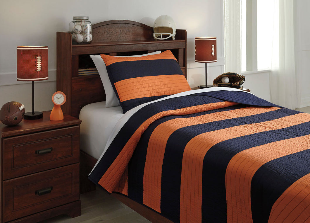 Nixon Navy/Orange Twin Coverlet Set