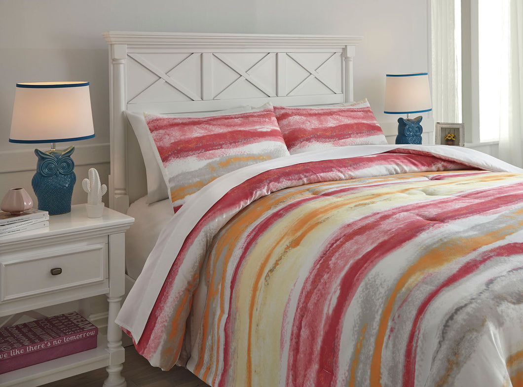 Tammy Pink/Orange Full Comforter Set