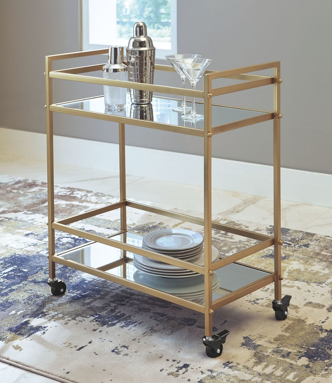 Kailman Gold Finish Bar Cart
