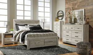 Bellaby Whitewash Queen Panel Storage Bed, Dresser & Mirror