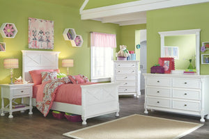 Kaslyn White Dresser, Mirror & Twin Panel Bed