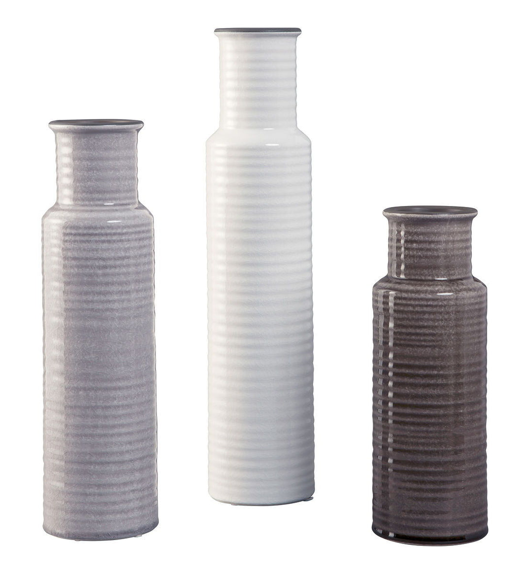 Deus Gray/White/Brown Vase Set (3/CN)