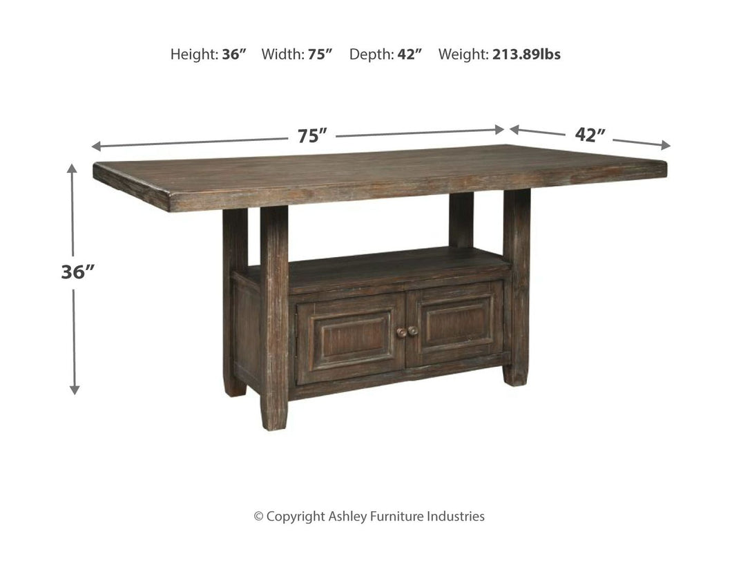 Wyndahl Rustic Brown 7 Pc. Rectangular Counter Table with Storage, 4 Upholstered Barstools & 2 Upholstered Stools