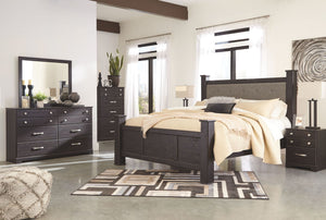Reylow Dark Brown King UPH Poster Bed