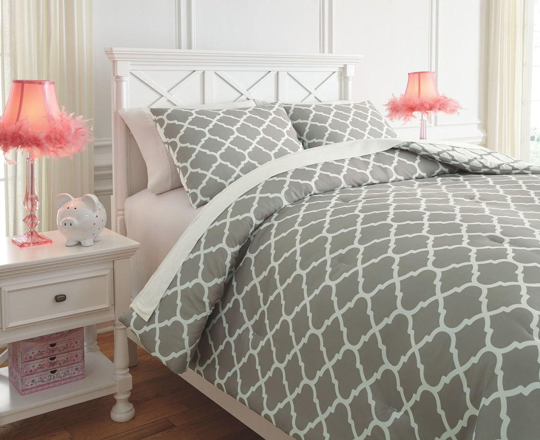 Media Gray/White Full Comforter Set
