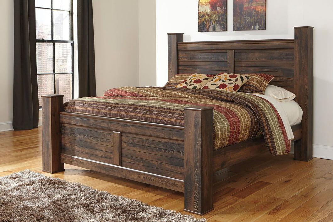 Quinden Dark Brown 6 Pc. Dresser, Mirror & King Poster Bed
