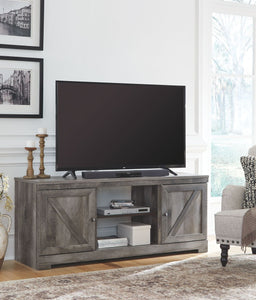 Wynnlow Gray Large TV Stand with Fireplace Option