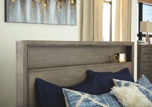 Arnett Gray King Headboard Bookcase Bed