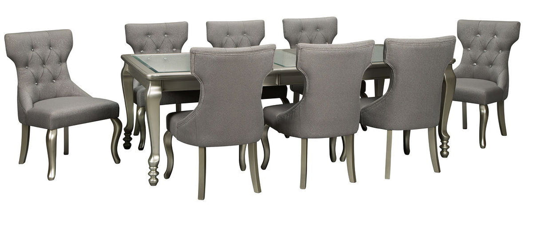 Coralayne Silver Finish 9 Pc. Rectangular Extension Table & 8 Upholstered Side Chairs
