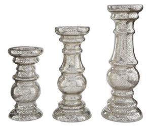 Rosario Silver Finish Candle Holder Set (3/CN)