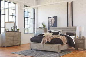 Naydell Rustic Gray King Panel Bed with 2 Storage Drawers