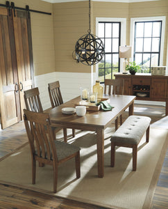 Flaybern Brown 7 Pc. Rectangular Extension Table, 4 Upholstered Side Chairs, Bench & Server