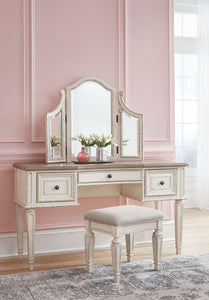 Realyn Two-tone Vanity/Mirror/Stool (3/CN)