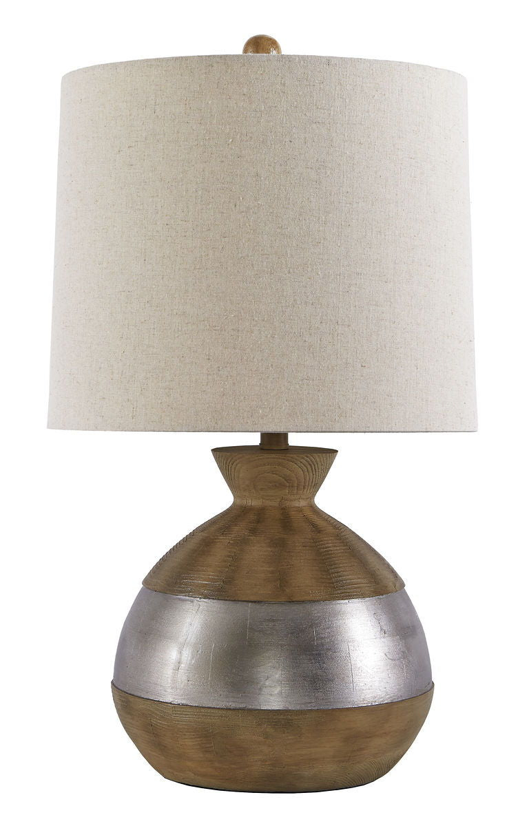 Mandla Brown/Silver Finish Poly Table Lamp (1/CN)