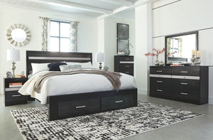 Starberry Black 6 Pc. Dresser, Mirror & King Panel Bed with Storage