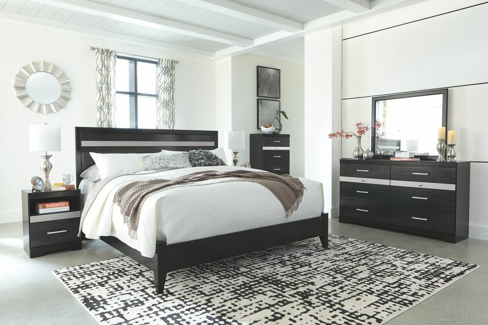 Starberry Black King Panel Bed, Dresser & Mirror