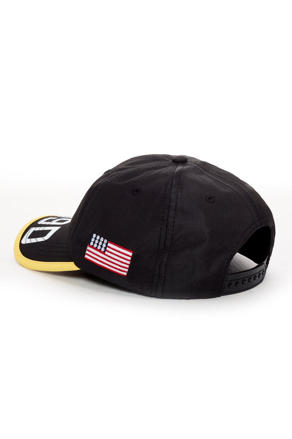 DOPE 100% cotton hat featuring prints on the brim and an embroidered patch on the front and left side. #Black