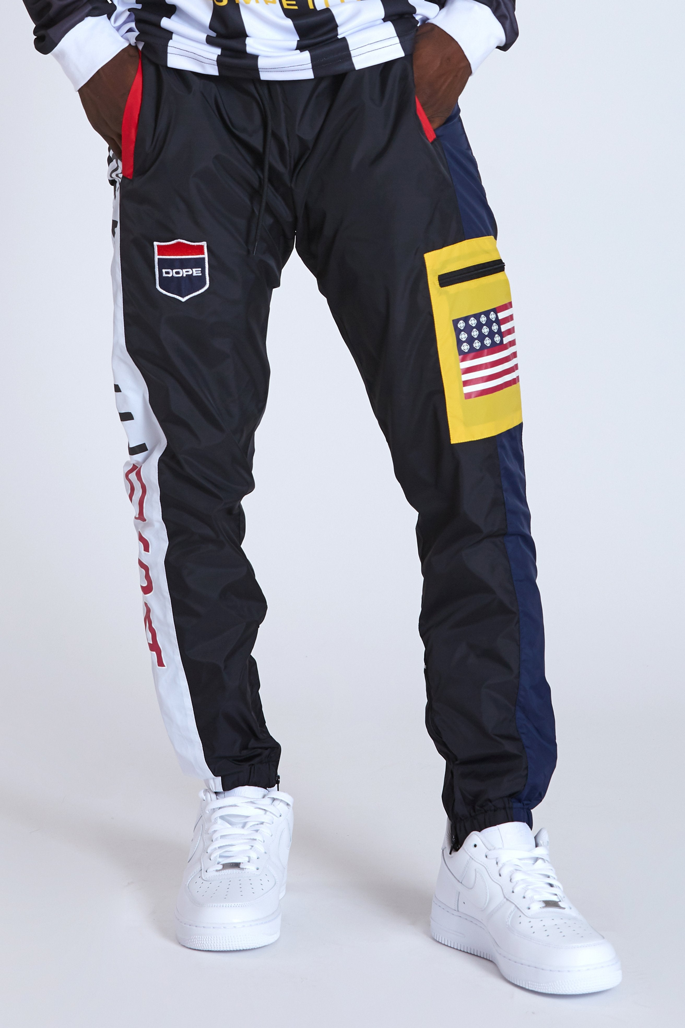 DOPE Cargo Sport Nylon windbreaker jogger pants #Black