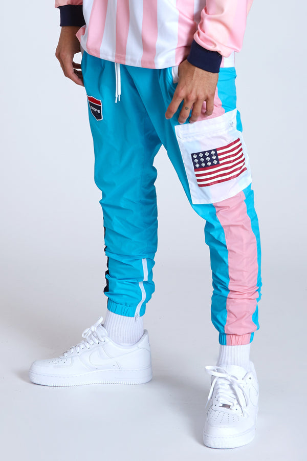 DOPE Cargo Sport Nylon windbreaker jogger pants #Blue