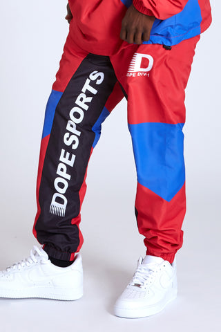 DOPE Polyester windbreaker jogger pants with paneled construction #Red
