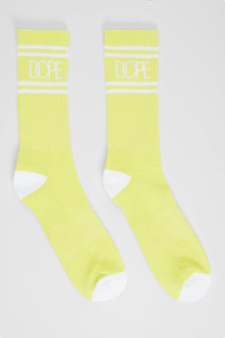 DOPE Striped Logo Socks #Safety Green