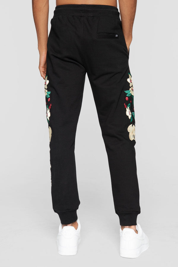 DOPE Embroidered Floral Sweatpants #Black