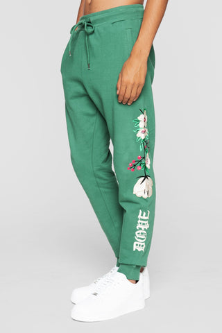 DOPE Embroidered Floral Sweatpants #Forest Green