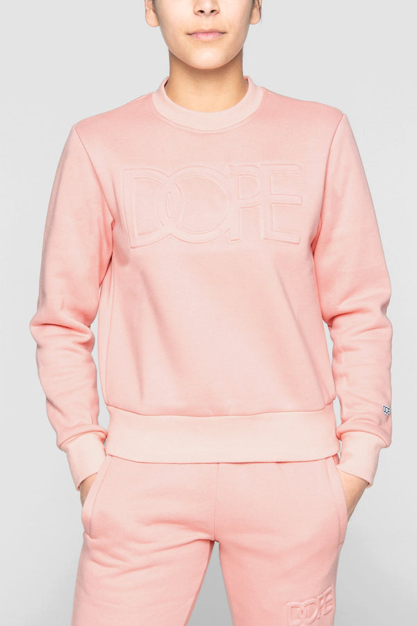 DOPE Embossed Cropped Crew #Coral