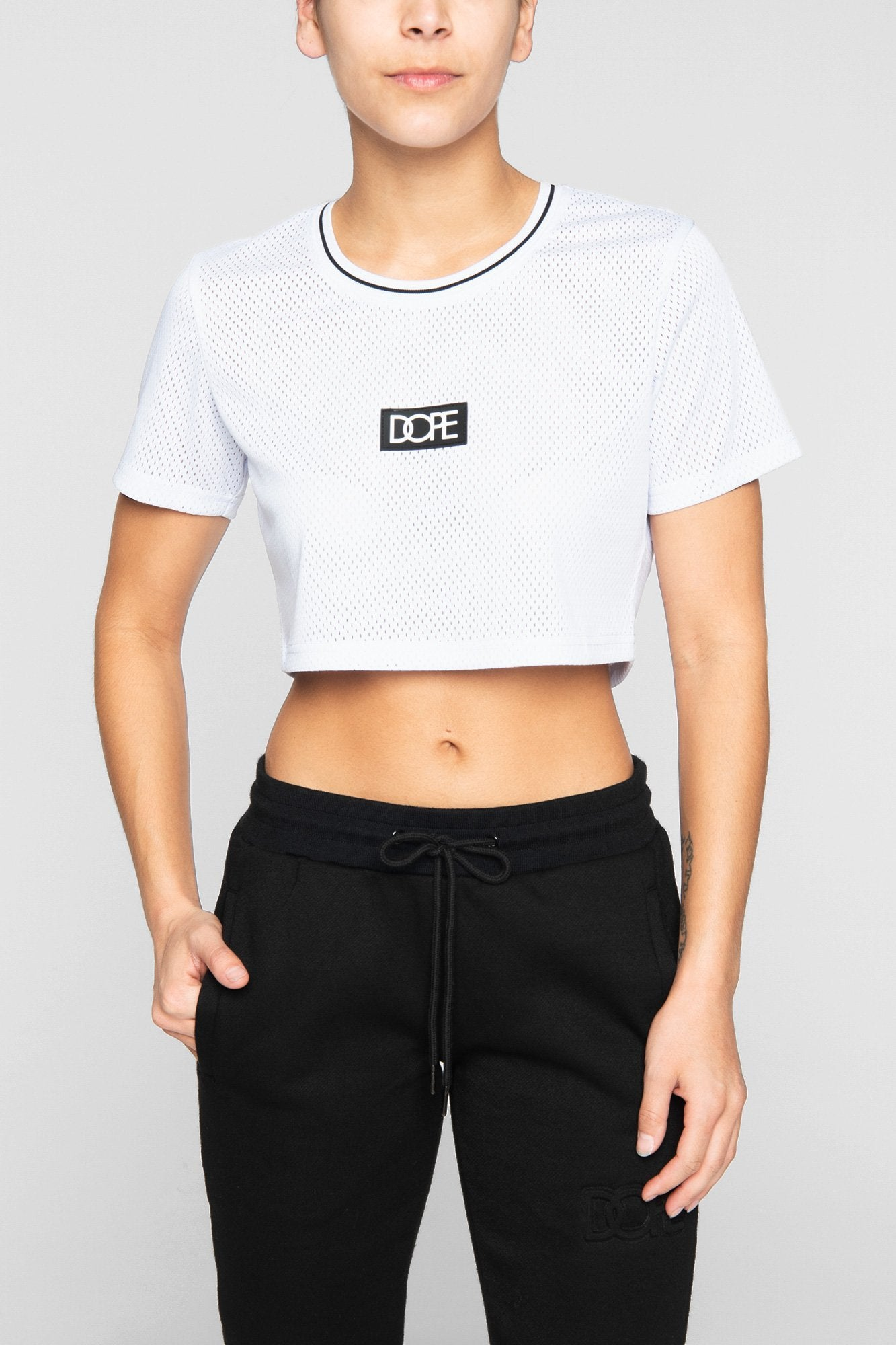DOPE Cropped Mesh Jersey #White