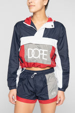 DOPE Nuova Cropped Windbreaker #Navy/Red