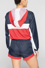 Load image into Gallery viewer, DOPE Nuova Cropped Windbreaker #Navy/Red