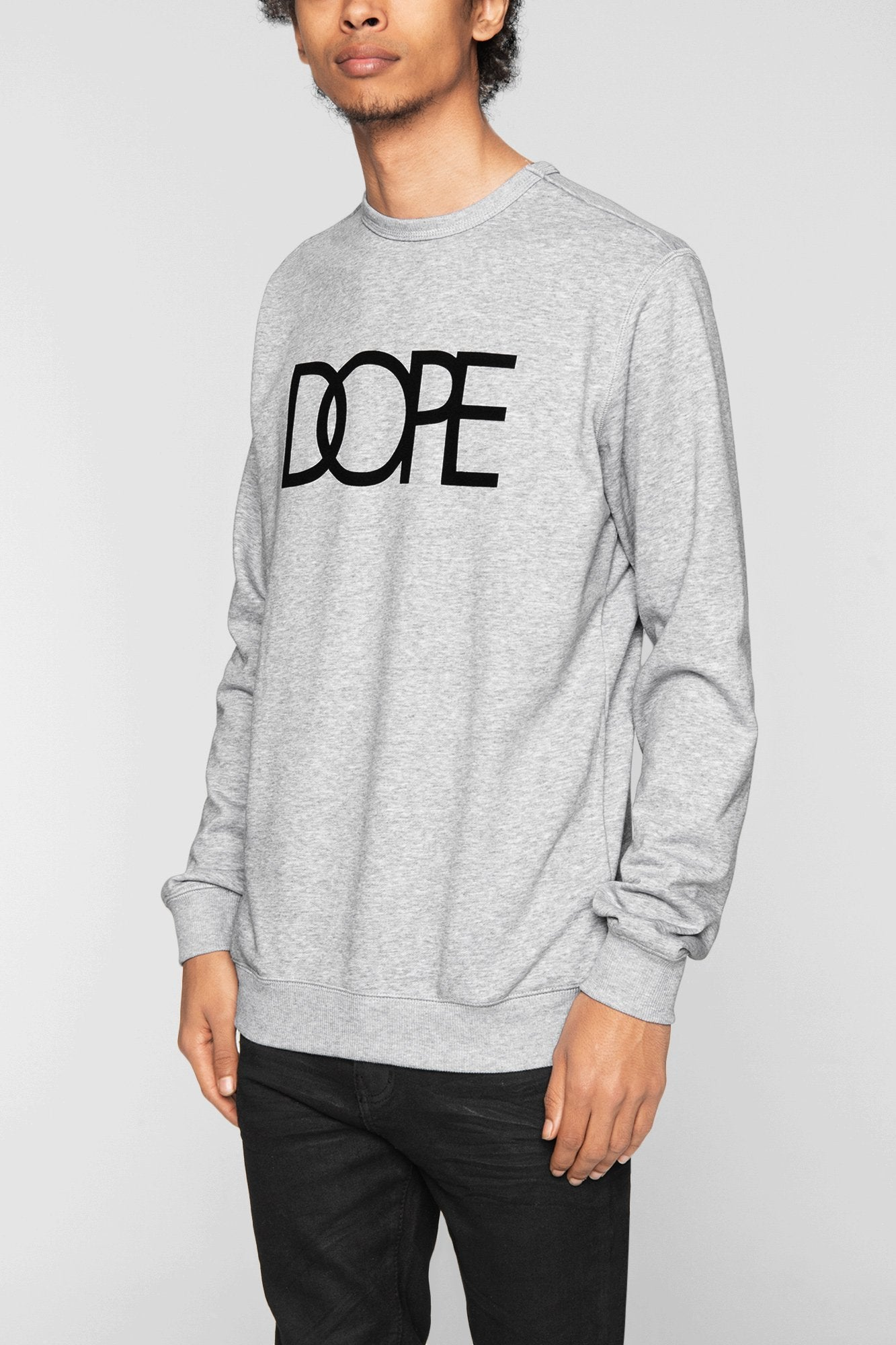 DOPE Logo Terry Crewneck #Heather Grey