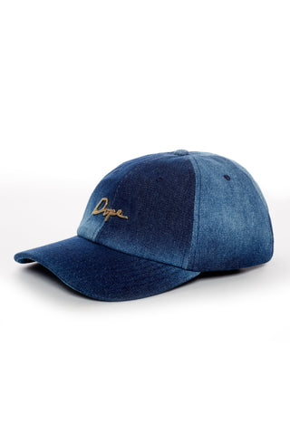 DOPE 24K Script Denim Dad Hat #Dark Blue