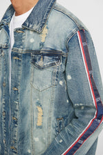 DOPE DOPE Stripe Denim Jacket #Blue