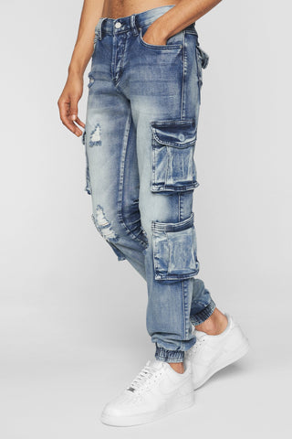 DOPE Cargo Denim #Blue Acid