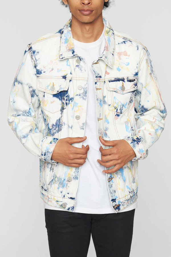 Feather Tie Dye Denim Jacket