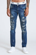 DOPE Boro Distressed Indigo denim that features a dark wash #Blue