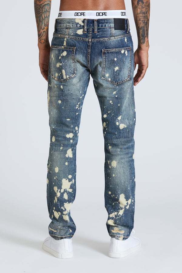 DOPE Distressed Indigo denim featuring a medium wash #Blue