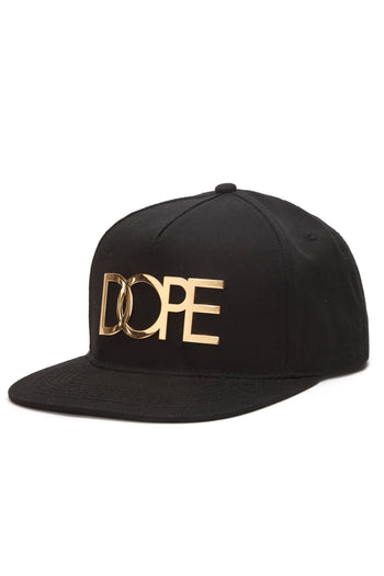 87128382296 DOPE 24K Gold Logo New Era Fitted  Black