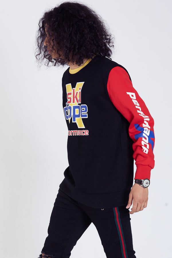 DOPE Cotton-Poly blend crewneck sweatshirt. Screen printed graphics. Contrasting sleeves and collar. #Red/Black
