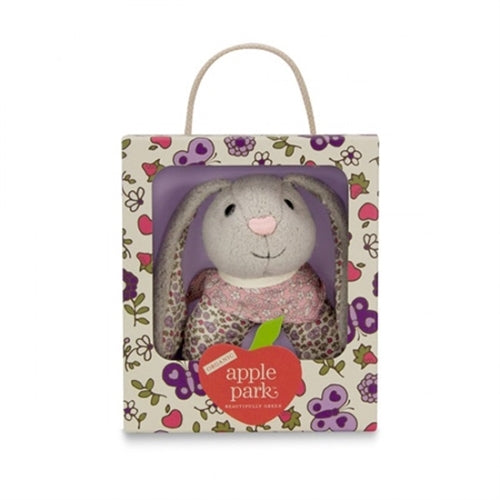 Apple Park Organic Baby Patterned Rattle - Bunny