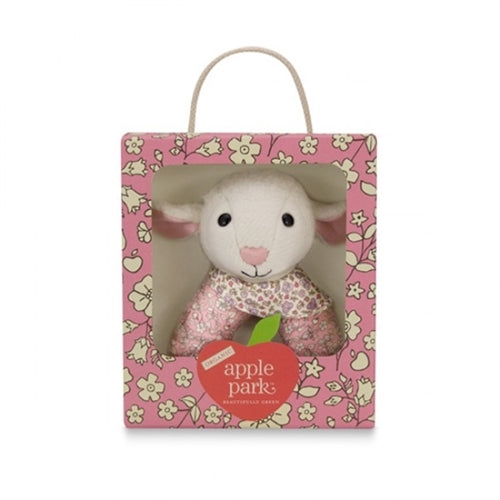 Apple Park Organic Baby Patterned Rattle - Lamby