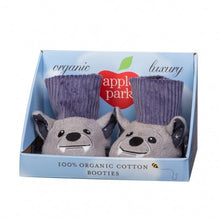 Load image into Gallery viewer, Apple Park Organic Cotton Patterned Booties - Bat