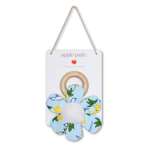 Apple Park Organic Cotton Cactus Teething Ring Rattle - Enchanted Blue