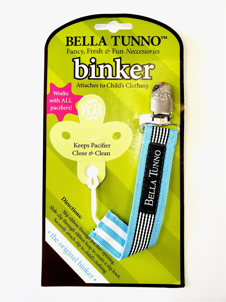 Bella Tunno Binker Pacifier Clip - Blue Stripe