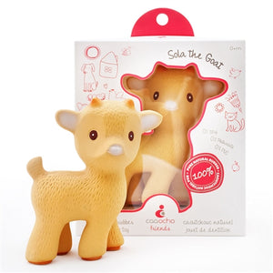 CaaOcho Baby Natural Rubber Teether - Sola the Goat / Tan