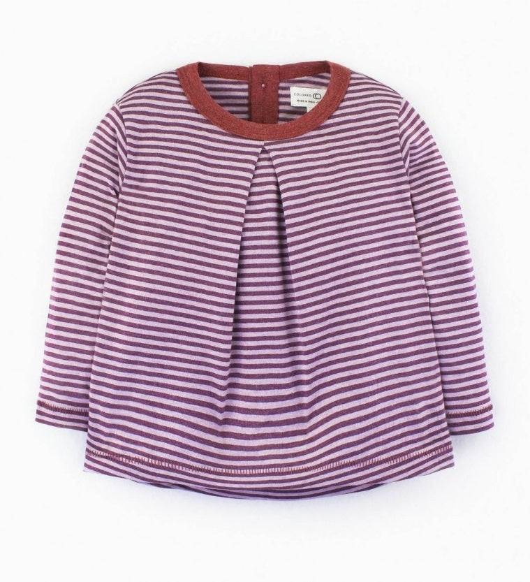 Colored Organics Sophie Swing Top (Heather Mulberry/Purple Haze Print)