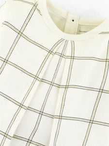 Colored Organics Sophie Swing Top (Ivory/Windowpane Print)